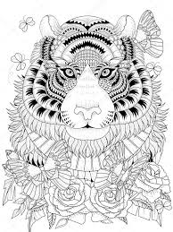 Imposing Tiger Adult Coloring Page Stock Vector C Kchungtw