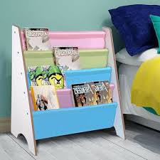 Wooden Canvas Sling Bookcase Bookshelf Shelf Kids Bedroom Magazine Book Storage For Sale Online