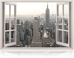 Amazon Com Realistic New York Poster Window Wall Decal Peel And Stick Urban Decor For Living Room Bedroom Office Playroom Wall Murals Removable Window Frame Style Nyc Wall Art Vinyl