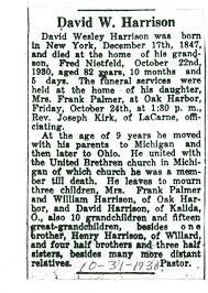 Obituary of David Wesley Harrison - Harris-Elmore Public Library Grace  Luebke Local History & Genealogy Digital Collections - Obituaries -