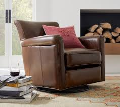 irving roll arm leather swivel glider