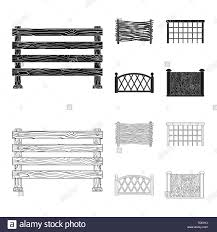 Picket Garden Chain Farm Security Wooden Wrought Rural Rustic Brick Old Gate Fence Railing Wall Entrance Metal Constructor Lattice Projection Front Steel Set Vector Icon Illustration Isolated Collection Design Element Graphic Sign Vector Vectors Stock