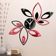 Wholesale New Silver Black Red Creative Rhombus Leaves Leaf Wall Clock Mirror Antique Modern Removable Diy Acrylic 3d Wall Decal Clocks Large Retro Wall Clocks Large Round Clock From Highqualityok4 21 95 Dhgate Com