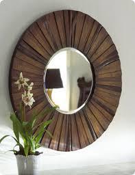 stained wood shim starburst mirror