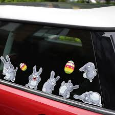 Rylybons New Removable Reusable Car Sticker For Car Happy Easter Cute Rabbit Car Stickers And Decals Car Styling Body Window Car Stickers Aliexpress
