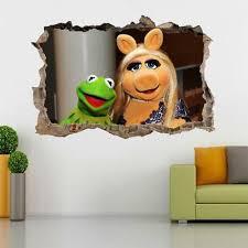 Kermit Miss Piggy Muppets 3d Smashed Wall Sticker Decal Decor Art Mural J886 Home Garden Decor Decals Stickers Vinyl Art