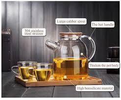 clear borosilicate glass teapot with