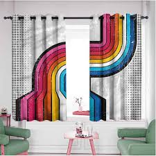 Amazon Com Retro Kids Bedroom Decor Panels 40 Inches Long Pop Art Style Grunge Tiles Noise Cancelling Curtians 55x40 Inch Multicolored Kitchen Dining