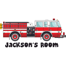 Fireman Fire Truck Customized Wall Decal Custom Vinyl Wall Art Personalized Name Baby Girls Boys Kids