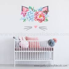 Floral Cat Wall Decal Floral Wall Decals Girls Room Colors Kids Room Wall Decals
