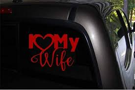 Amazon Com I Love My Wife R Vinyl Car Decal Macbook Laptop Diy Window Suv Truck Bumper Sticker 6 X 3 Red Automotive