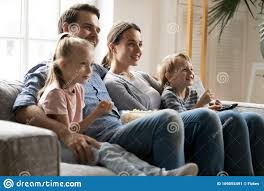 Happy Family With Kids Watch Tv At Home Stock Image Image Of Little Cuddle 169055491