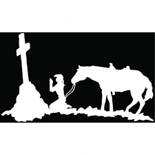 Cowgirl Cross Praying Christian Symbol Car Truck Window Bumper Vinyl Graphic Decal Sticker 10 Inch 25 Cm Wide Gloss White Color Carkart