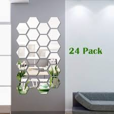 24 Pieces Hexagon Removable Acrylic Mirror Setting Wall Sticker Decal For Home Living Room Bedroom Decor Wish
