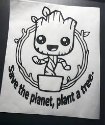 Save The Planet Plant A Tree Vinyl Decal Car Window Decal Baby Groot Decal Super Cute Groot Car Decals Vinyl Vinyl Decals Car Window Decals