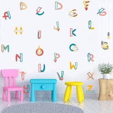 Toarti Colorful Alphabet Wall Decal 26 Decals Pen Ruler Palette School Supplies Stickers Watercolor Colorful Educational Abc Wall Art For Kids Toddlers Nursery Playroom Classroom School Decor