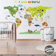 Nursery World Map Decal Kids World Map World Map Wall Etsy World Map Wall Decor Kids World Map World Map Decal