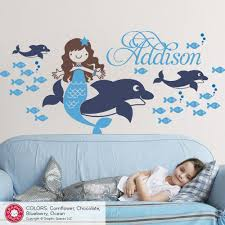 Mermaid Dolphin Wall Decal Personalized Name Ocean Kids Baby Nursery Graphic Spaces
