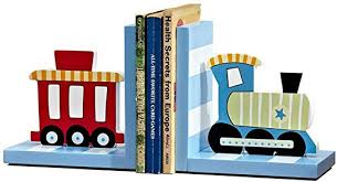 Amazon Com Dong Hao Wooden Train Bookend Art Gift Cloud Bookends For Kids Room Decorations For Room Or Nursery Art Decoration Party Birthday Gifts 1 Pair Red Blue Color Blue Home Kitchen