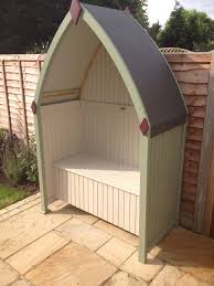 Wooden Arbour From Rowlinson Painted In Cuprinol Weather Proof Paint Natural Stone On The Inside Willow Garden Storage Garden Tool Shed Backyard Design