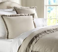 linen with silk trim patterned duvet