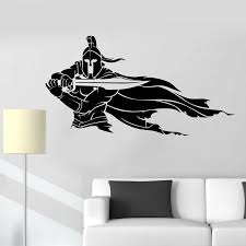 Spartan Warrior Helmet Sword Cloak Of Warrior Vinyl Wall Decal Home Decor Bedroom Art Mural Wallpaper Wall Stickers Wall Stickers Aliexpress