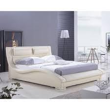 king size modern platform bed in cream