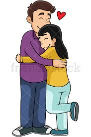woman hugging vector clipart