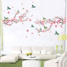 Large Pink Cherry Blossoms Tree Butterfly Wall Sticker Vinyl Art Decal Girls Bedroom Living Room Decor Decorative Mural Walmart Com Walmart Com