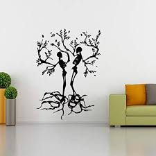 Amazon Com Bibitime Halloween Vinyl Couple Skull Tree Wall Decal Black Skeleton Sticker For Living Room Porch Sofa Background Decorations Shop Showcase Window Kids Room Decor Home Kitchen