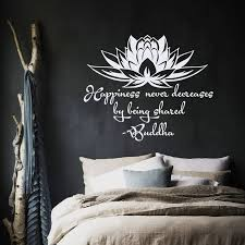 Wall Decal Quote Happiness Never Decreases By Being Shared Buddha Lotus Meditation Wisdom Yoga Studio Vinyl Sticker Murals B717 Wall Stickers Aliexpress