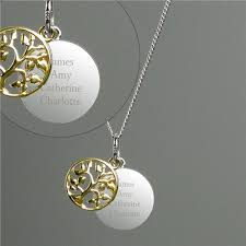9ct gold family tree necklace