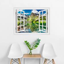 Mountain And Lake Faux Window Mural