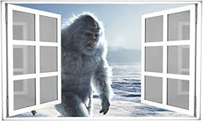 Amazon Com Yeti 3d White Open Window Wall Decal Bigfoot Abominable Snowman Sasquatch Himalayan Mountains Mythical Wall Sticker Removable Fabric Vinyl Wall Art Decor 24 Wide X 14 7 Tall Arts Crafts Sewing