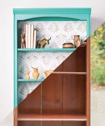 a bookcase renovation with wallpaper