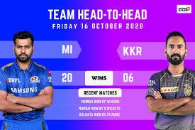 MI vs KKR Head to Head in IPL 2020: Mumbai Indians vs Kolkata Knight Riders  ...