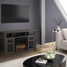 electric fireplace and log set in warm