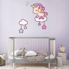 Cute Unicorn And Stars Wall Sticker Unicorn Wall Decal Etsy