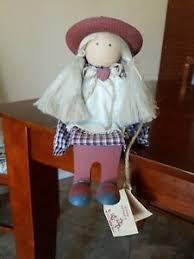 Vintage LIZZIE HIGH Wooden Folk Art DOLL Abigail Bowman heart hat long pig  tails | eBay