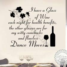 Funny Kitchen Dining Room Wall Sticker I Drink Wine For Health Benefits Quote Home Wall Art Decor Decal 01