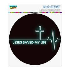 Jesus Saved My Life Ekg Heart Rate Pulse Religious Christian Automotive Car Window Locker Circle Bumper Sticker Walmart Com Walmart Com