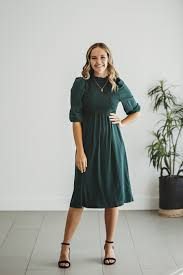 Myra Long Sleeve Shirred Midi Dress in Emerald – Amber and Ivory