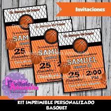 Kit Imprimible Basquet Personalizado Banderin Invitacion