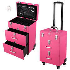 pvc 4 wheel rolling makeup case nail
