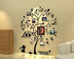 Amazon Com Vivilinen 3d Wall Stickers Family Tree Picture Frames Wall Decal Diy Acrylic Home Decor Black Tree With Cat Large Kitchen Dining