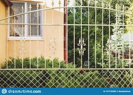 Metal Decorative Fence With Door And Gate Of Modern Style Design Metal Fence Ideas Stock Photo Image Of Architecture Boundary 137318302