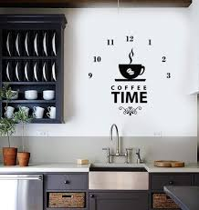 Vinyl Wall Decal Coffee Time Clock Shop Coffee Lover Decor Art Stickers Mural Ig5667 Coffee Lover Decor Cafe Wall Art Coffee Wall Art