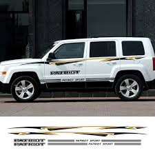 2pcs Car Racing Stripe Stickers Vinyl Auto Waterproof Sport Styling Decals For Jeep Patriot Automobiles Car Tuning Accessories Car Stickers Aliexpress