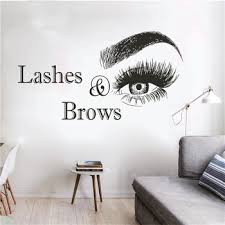 Wall Vinyl Decal Lashes And Brows Logo Wall Sticker Beauty Salon Decoration Vinyl Stickers For Wall Eyelashes Make Up Art T 104 Leather Bag