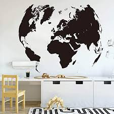 Amazon Com Wall Stickers Murals World Map Global Earth Wall Decal Office Classroom Travel World Map Earth Wall Sticker Kids Room Bedroom Vinyl Home Decor 70x56cm Kitchen Dining
